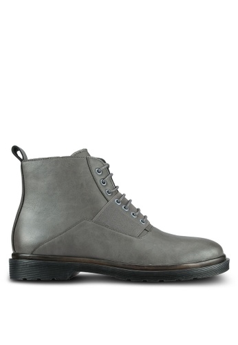 ZALORA grey Contemporary Faux Leather Boots B72D3AAB5C9042GS_1