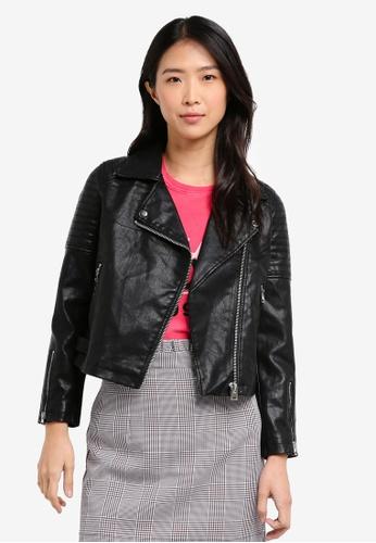TOPSHOP black Petite Blossom Leather Look Jacket 8EA81AA5E9AAAFGS_1
