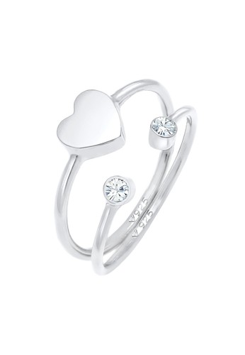 Elli Germany white Perhiasan Wanita Perak Asli - Silver Cincin Swarovski® Crystal Stacking Putih 60AA3ACB353008GS_1