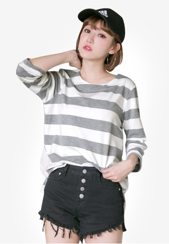Tokichoi grey and multi Striped Oversized Top A80CAAAD760740GS_1