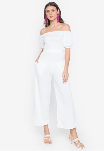 Deity white Off Shoulder Crop Top and High Waist Pants Set 420EAAA46915D1GS_1