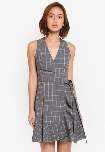 ZALORA grey Wrap Dress with Bottom Frill F8945AA3F81C53GS_1