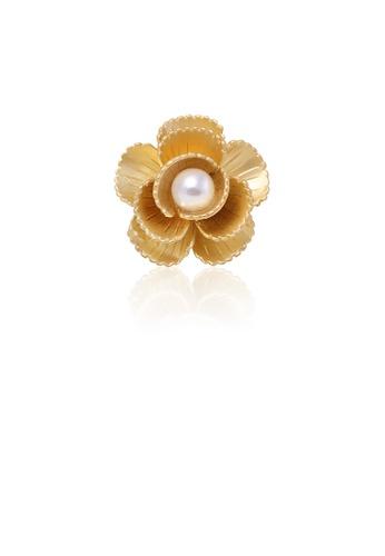 Glamorousky white Fashion Simple Plated Gold Flower Imitation Pearl Brooch 8EABFAC1BCDA51GS_1