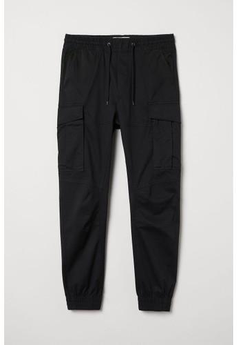 H&M black Cargo joggers CD09BAA2C899D3GS_1