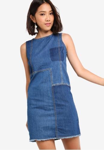 Something Borrowed blue Patchwork Shift Denim Dress C275CAAF817540GS_1