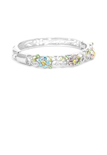 Glamorousky multi Elegant Flower Bangle with Multi-color Austrian Element Crystals AD29EAC716E068GS_1