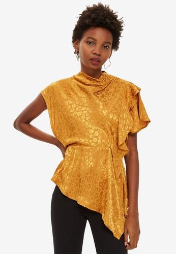 TOPSHOP yellow Petite Jacquard Drape Blouse 26C48AA05085DCGS_1