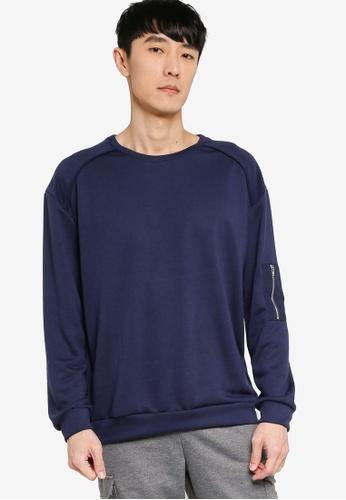 ZALORA BASICS navy Zip Detail Patch Pocket Sweatshirt 78E93AAFE15E7BGS_1