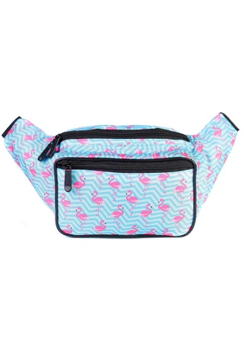 LULUGIFT blue Lulugift SoJourner Flamingo Fanny Pack Multiple Use Waist Bag 99C2EACCDAB6C5GS_1