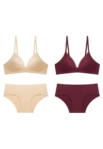 K.Excellence red Premium Comforn Gold&Red Lingerie Set (Bra and Underwear) FB936US972C8ECGS_1