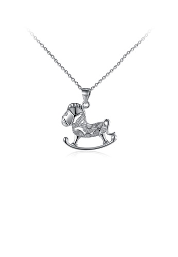 Glamorousky white 925 Sterling Silver Fashion Pony Pendant with Cubic Zircon and Necklace 302CAAC362D4DCGS_1