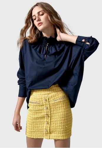 iROO blue Oversize Ruffle Collar Blouse 63047AA4F5E9ADGS_1