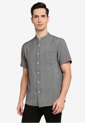 ZALORA BASICS navy Check Short Sleeve Stand Collar Shirt 03B0BAA9E3FED3GS_1