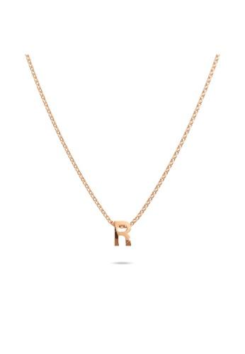 Bullion Gold gold BULLION GOLD Initials Brick Alphabet Letter Necklace Rose Gold Layered Steel Jewellery - R 145FCAC91B25BDGS_1