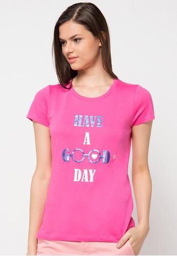 Bossini pink Short Sleeve R/Nk Print Tee BO894AA22JPLID_1