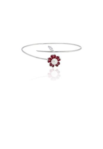 Glamorousky 白色 925純銀簡約優雅花朵淡水珍珠手鐲 E92EAAC193FB11GS_1