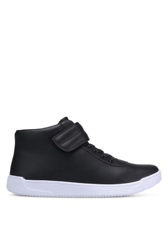 ZALORA black Faux Leather High Top Sneakers CF569SHD8D9F82GS_1