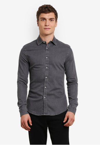 Topman grey Grey Muscle Fit Denim Shirt TO413AA0S4QTMY_1