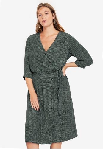 8702f0c310592 Violeta by MANGO green Plus Size Wrap Polka-Dot Dress 0AF90AA56F2FE4GS 1