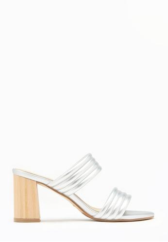 PAZZION silver Metallic Leather Slide Sandal Heels F40CDSHFB44DBAGS_1