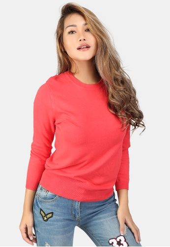 London Rag pink Fine Knit Solid Sweater C5EBFAA72BE4BBGS_1