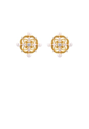 Glamorousky white 925 Sterling Silver Plated Gold Simple Temperament Hollow Pattern Geometric Stud Earrings with Cubic Zirconia 6865CAC104A3F5GS_1