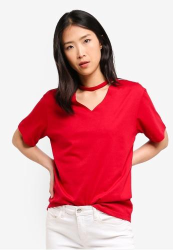 ZALORA BASICS red Basic V-Neck Cut Out T-Shirt 95F3DAAD0E849CGS_1