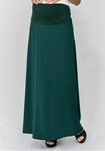 9months Maternity green Green Full Panel Maternity Maxi Skirt 2F7A1AAE93B3E0GS_1