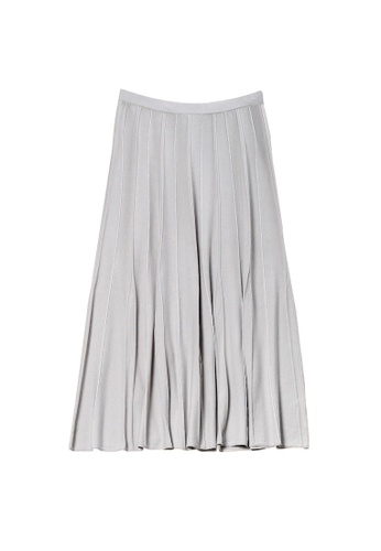 KLAPS grey Pleated Knit Skirt 5EB5FAA5B853AFGS_1