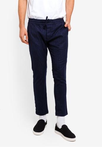 Topman 海軍藍色 緊身條紋長褲 912CEAA501B8D6GS_1