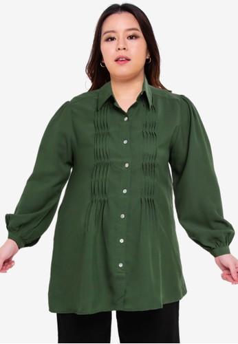 Ex'otico green Twisted Pleated Blouse 113ECAA1F4F10CGS_1