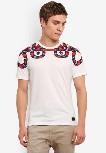 Flesh IMP white Snake Skin Printed T-Shirt FL064AA0S5TZMY_1