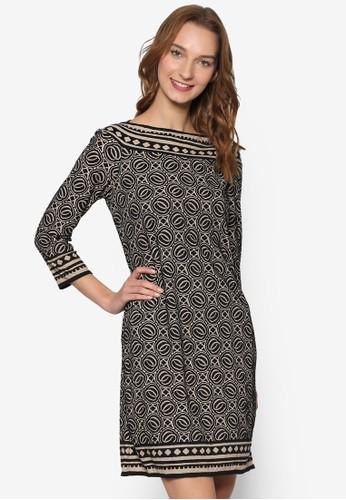 圖樣滾邊印花針織圓領長袖連身裙, 服飾, zalora 包包 ptt洋裝
