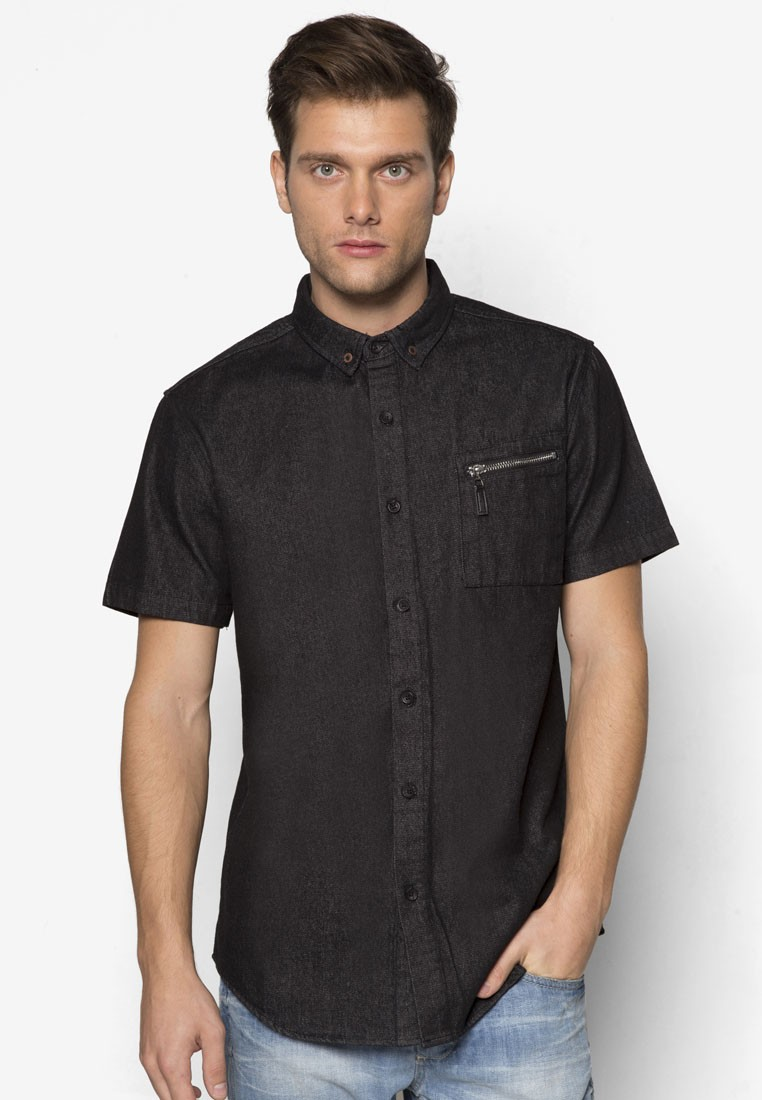 Zipper Slant Pocket Short Sleeve Shirt