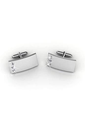 Her Jewellery silver Swarovski® Crystals - Mr Matt 3 Cufflinks (Rectangle 2) (18K White Gold Plated) Her Jewellery HE581AC0RBIDMY_1