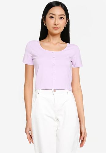 ONLY purple Penelope Short Sleeve Top B11F9AA697ADB7GS_1