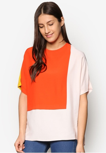 TOPSHOP red and multi Colour Block Tee TO412AA16PADMY_1