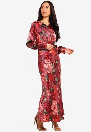 33575582a5 TOPSHOP red Satin Floral Midi Dress 6DDBCAA4CC822EGS 1