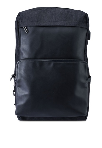 Bagstationz black Duo Texture Laptop Backpack 6A3CAACFA82DDDGS_1