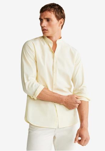 Mango Man 黃色 Slim Fit Mao Collar Shirt A1B07AA62CB9E6GS_1