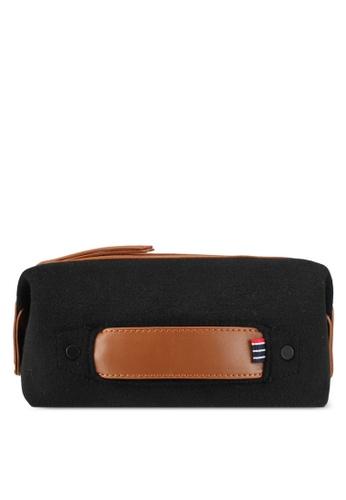 ZALORA black and brown Felt Wash Bag 1A5ACAC98658D2GS_1