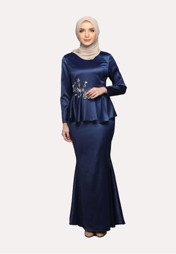 Elegance Peplum Kurung from Emanuel Femme in Blue and Navy