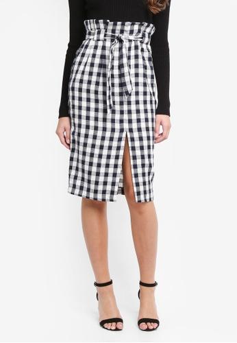 Miss Selfridge black Gingham Paperbag Pencil Skirt E3A65AA8767451GS_1