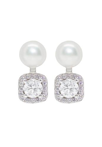 Elfi silver Elfi Genuine White Gold Square Glitter Stud Earrings WGE-03 3F6F7ACD2715C7GS_1