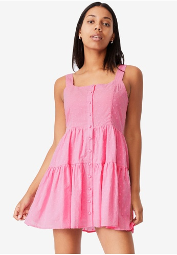 Cotton On pink Woven Rose Strappy Button Through Dobby Dress 1629DAA374B2A3GS_1