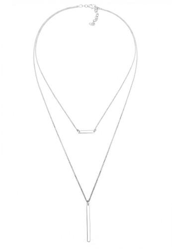Elli Germany silver Perhiasan Wanita Perak Asli-Silver Kalung Choker Layer Geo Silver 82F96AC79B2A11GS_1