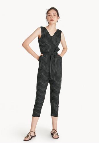 d0ce1148c761 Buy Pomelo Pinstripe V Neck Jumpsuit - Black Online