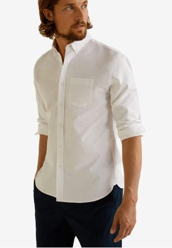 MANGO Man 白色 Regular Fit Oxford Cotton Shirt A43F7AAA7ECD9DGS_1