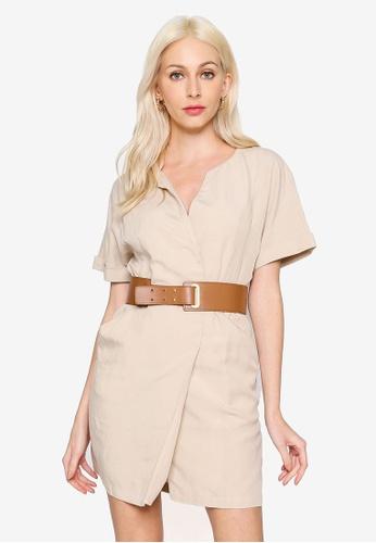Hopeshow beige V-Neck Folded Cuff Linen Mini Dress 8E5F9AA30C2A5EGS_1
