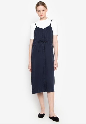 Susto The Label navy Amberly Waist Tie Dress 652DCAA9F671A5GS_1